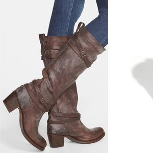 FRYE BOOT JANE STRAPPY FATIGUE TALL BOOT SLOCHY